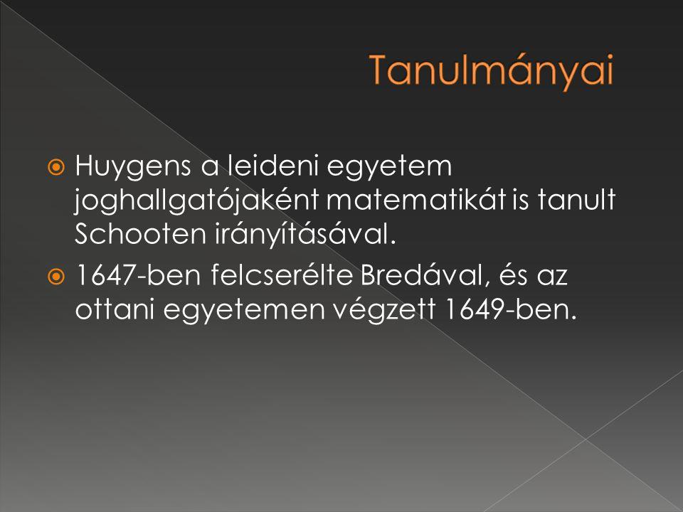 Tanulmányai Huygens a leideni egyetem joghallgatójaként matematikát is tanult Schooten irányításával.