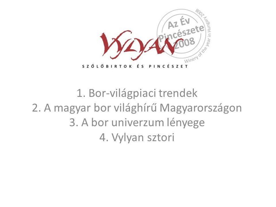 1. Bor-világpiaci trendek 2. A magyar bor világhírű Magyarországon 3