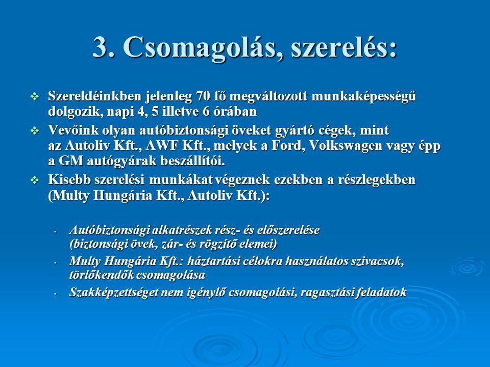 3. Csomagolás, szerelés: Szereldéinkben jelenleg 70 fő megváltozott munkaképességű dolgozik, napi 4, 5 illetve 6 órában.