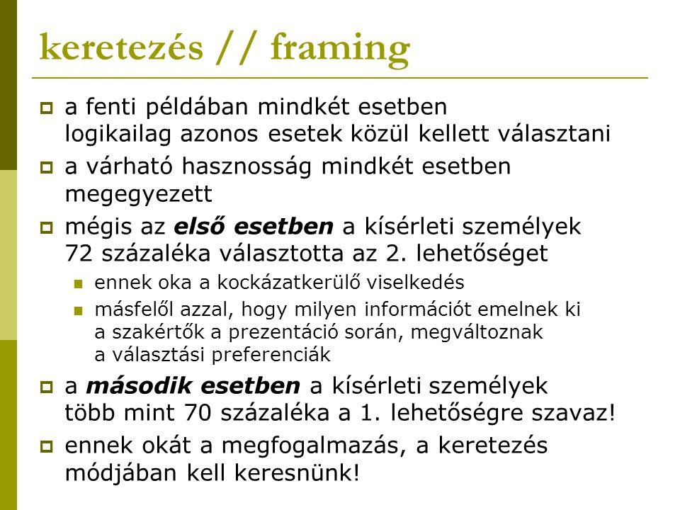 keretezés // framing a fenti példában mindkét esetben logikailag azonos esetek közül kellett választani.