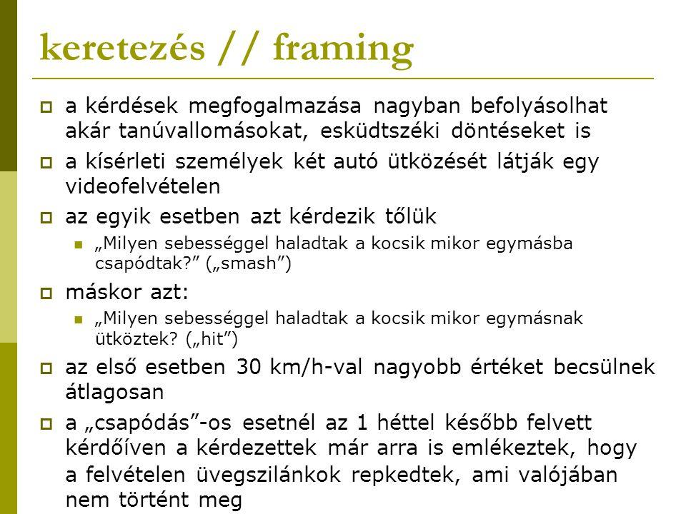 keretezés // framing a kérdések megfogalmazása nagyban befolyásolhat akár tanúvallomásokat, esküdtszéki döntéseket is.