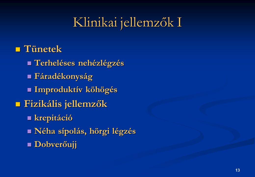 Klinikai jellemzők I Tünetek Fizikális jellemzők