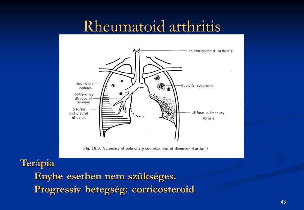 Rheumatoid arthritis Terápia Enyhe esetben nem szükséges.