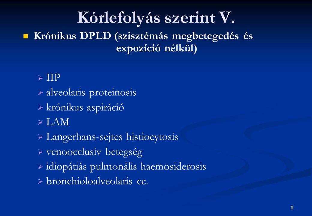Kórlefolyás szerint V. Krónikus DPLD (szisztémás megbetegedés és expozíció nélkül)