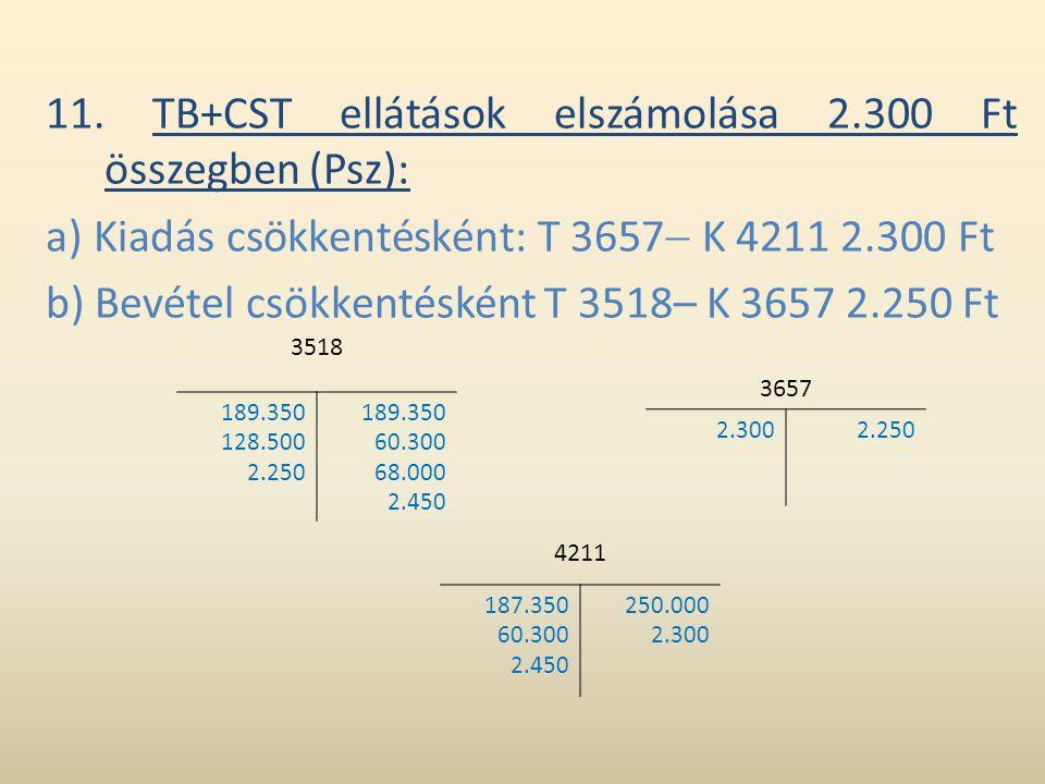 11. TB+CST ellátások elszámolása 2.300 Ft összegben (Psz):