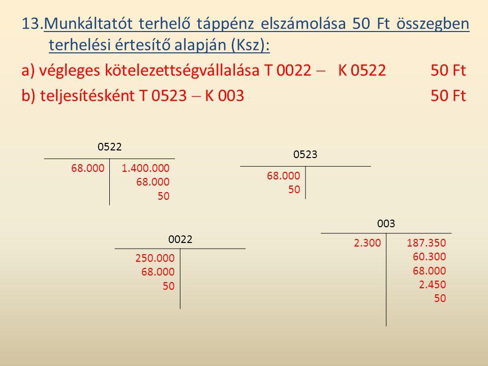 a) végleges kötelezettségvállalása T 0022  K 0522 50 Ft