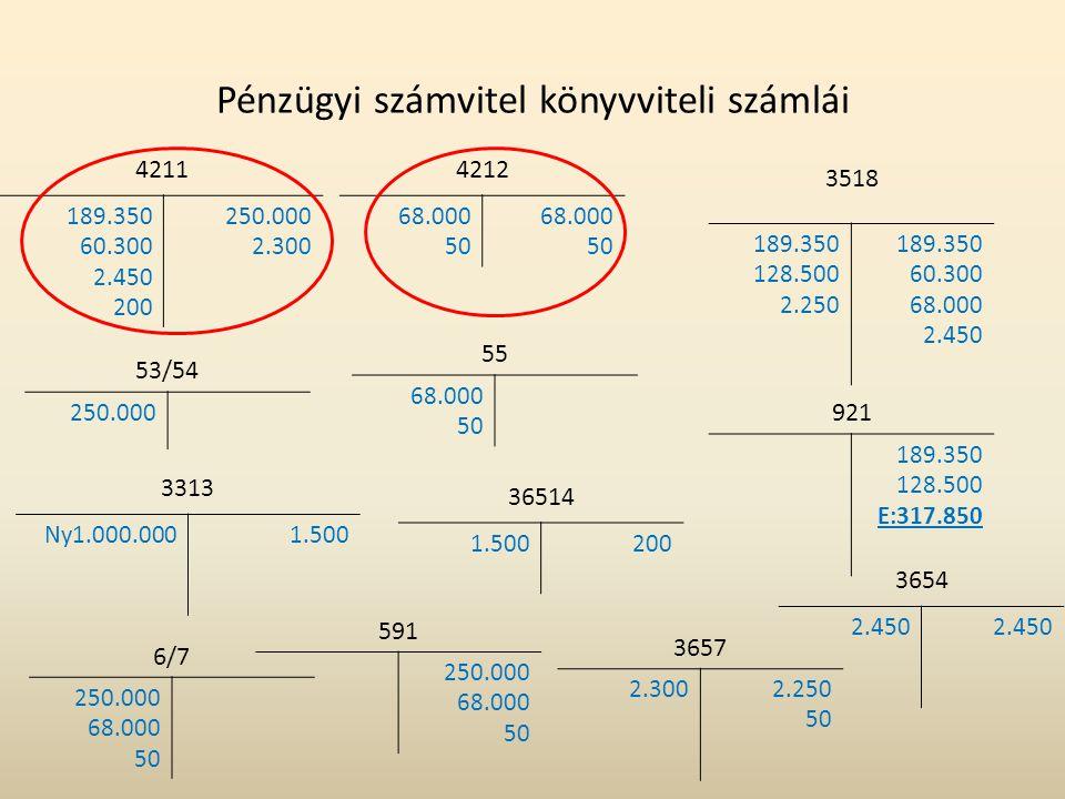 Pénzügyi számvitel könyvviteli számlái