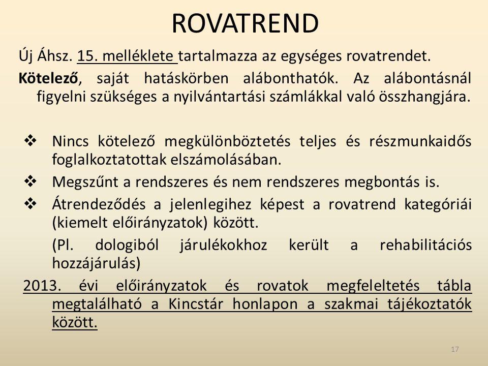 ROVATREND Új Áhsz. 15. melléklete tartalmazza az egységes rovatrendet.