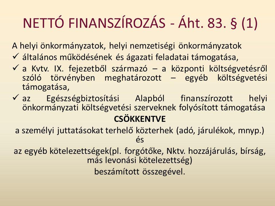 NETTÓ FINANSZÍROZÁS - Áht. 83. § (1)