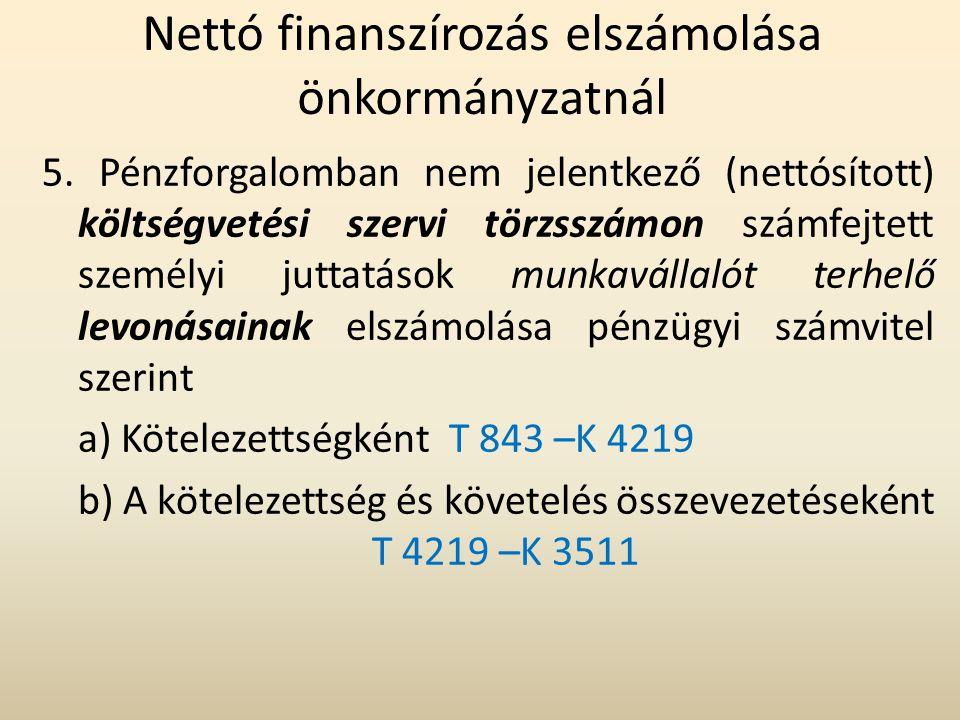 Nettó finanszírozás elszámolása önkormányzatnál