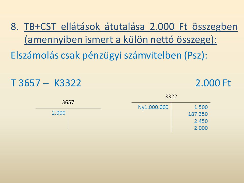 Elszámolás csak pénzügyi számvitelben (Psz): T 3657  K3322 2.000 Ft