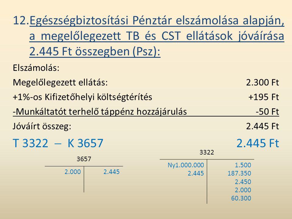 12.Egészségbiztosítási Pénztár elszámolása alapján, a megelőlegezett TB és CST ellátások jóváírása 2.445 Ft összegben (Psz):