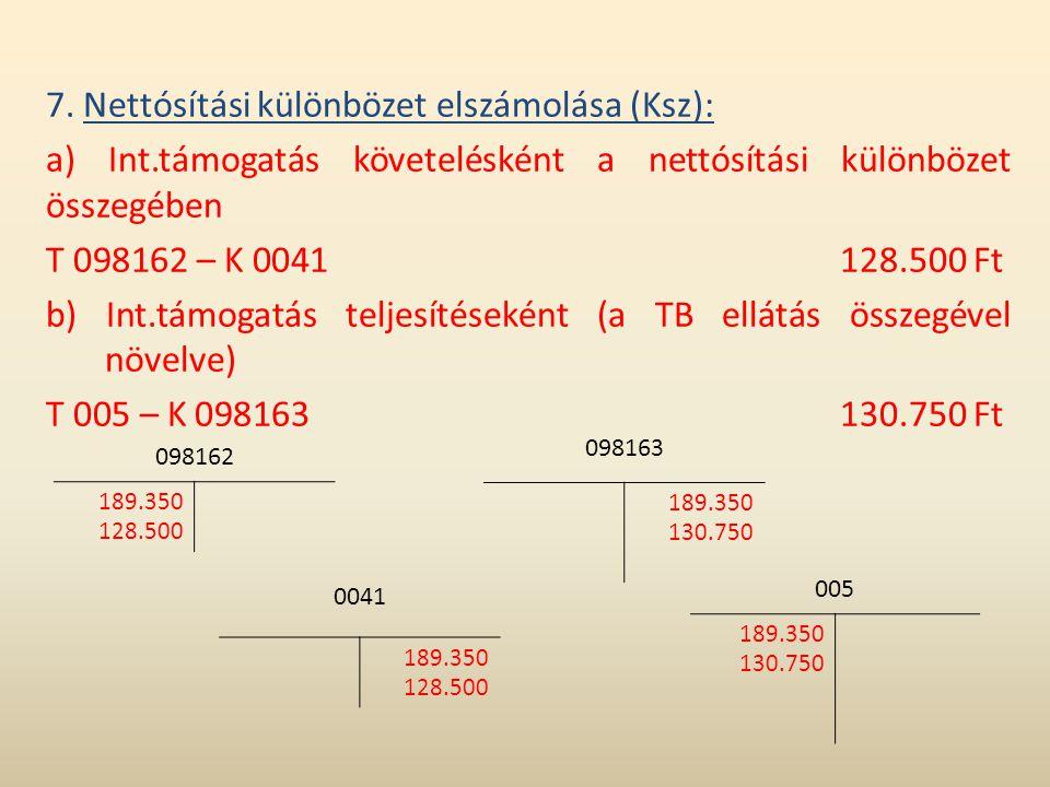 7. Nettósítási különbözet elszámolása (Ksz):