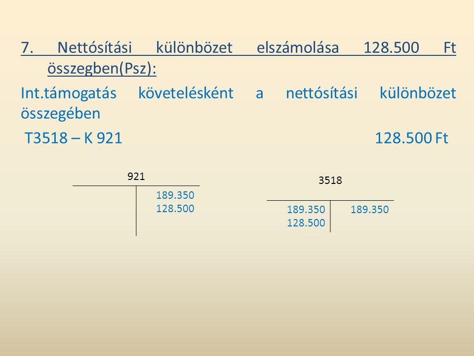7. Nettósítási különbözet elszámolása 128.500 Ft összegben(Psz):