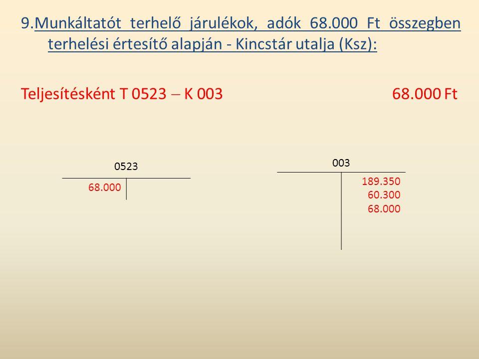 9. Munkáltatót terhelő járulékok, adók 68