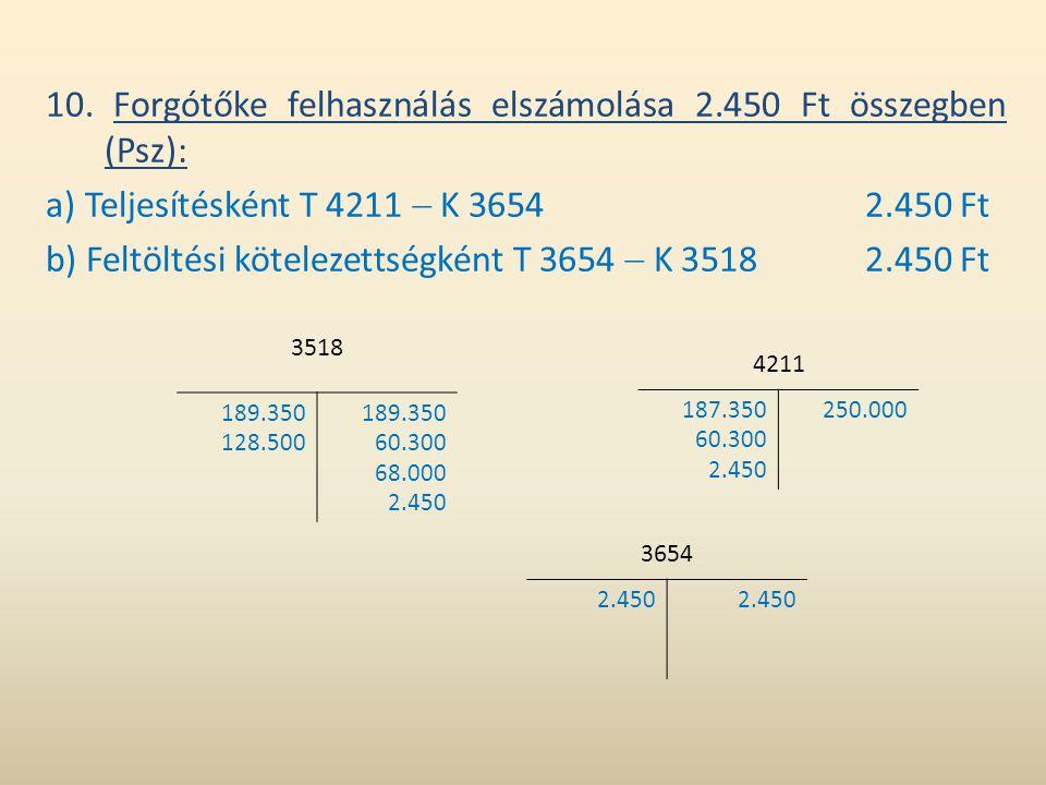 10. Forgótőke felhasználás elszámolása 2.450 Ft összegben (Psz):