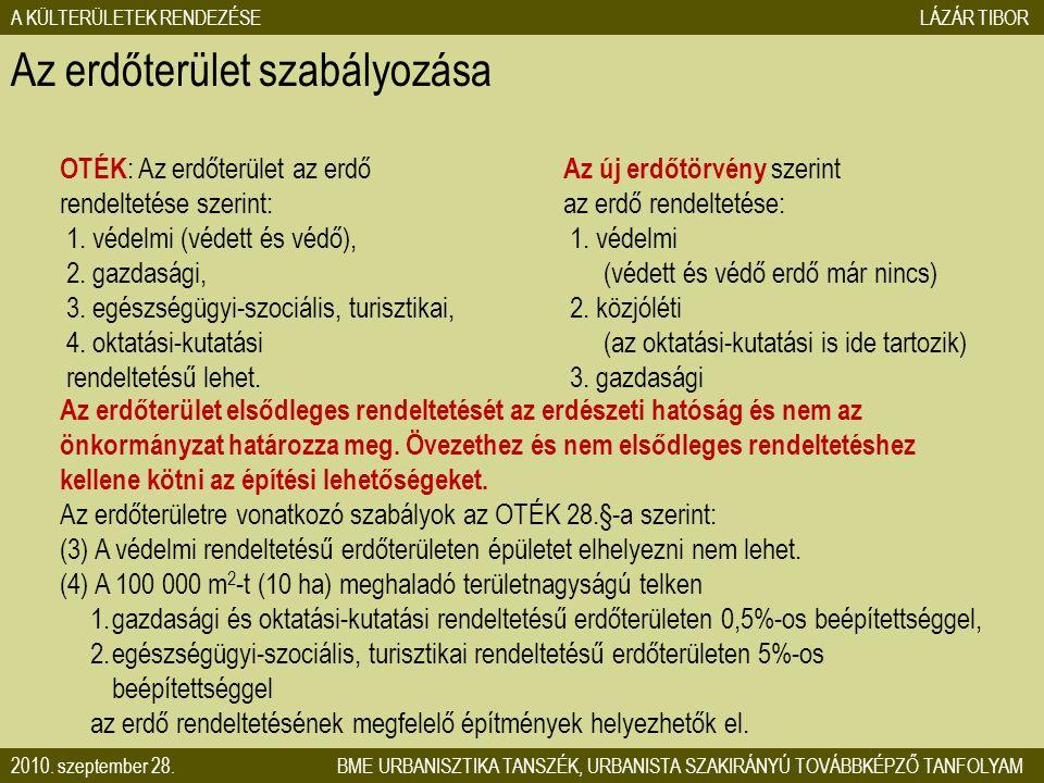 Az erdőterület szabályozása