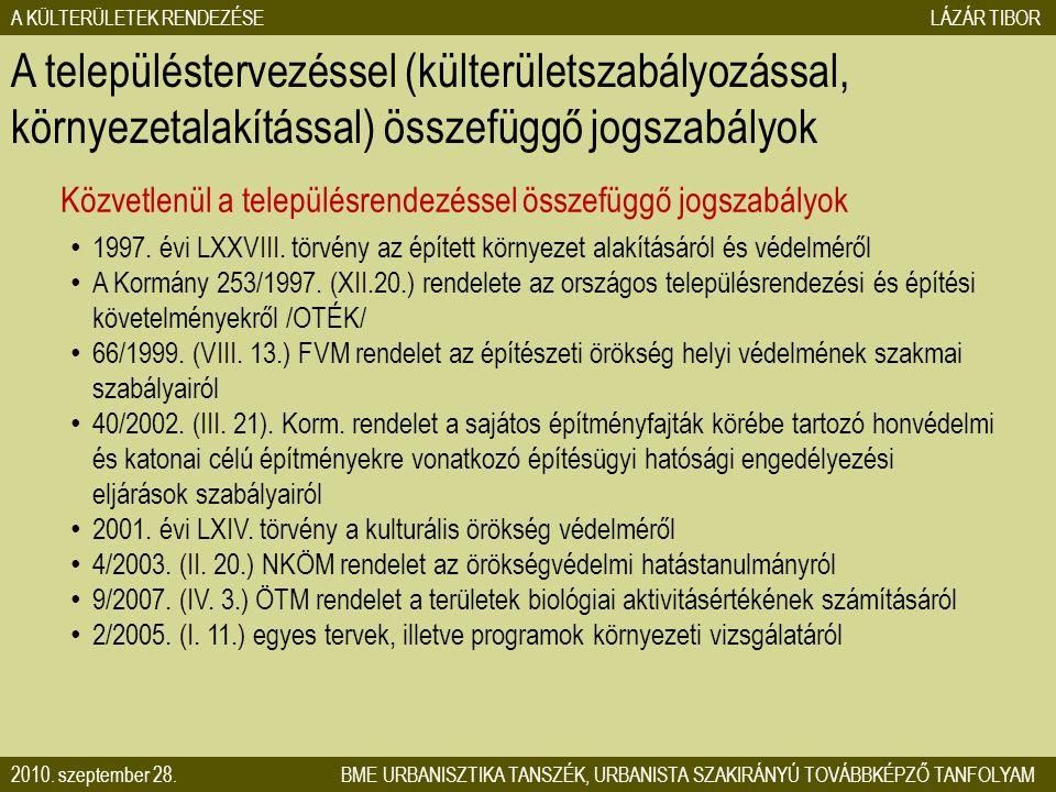 A településtervezéssel (külterületszabályozással, környezetalakítással) összefüggő jogszabályok