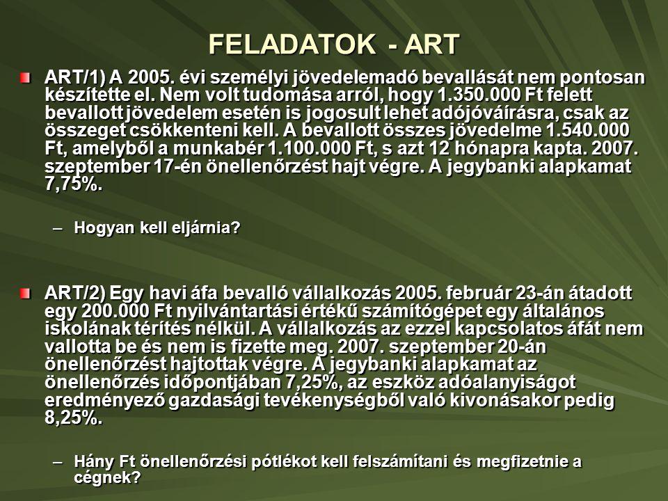 FELADATOK - ART