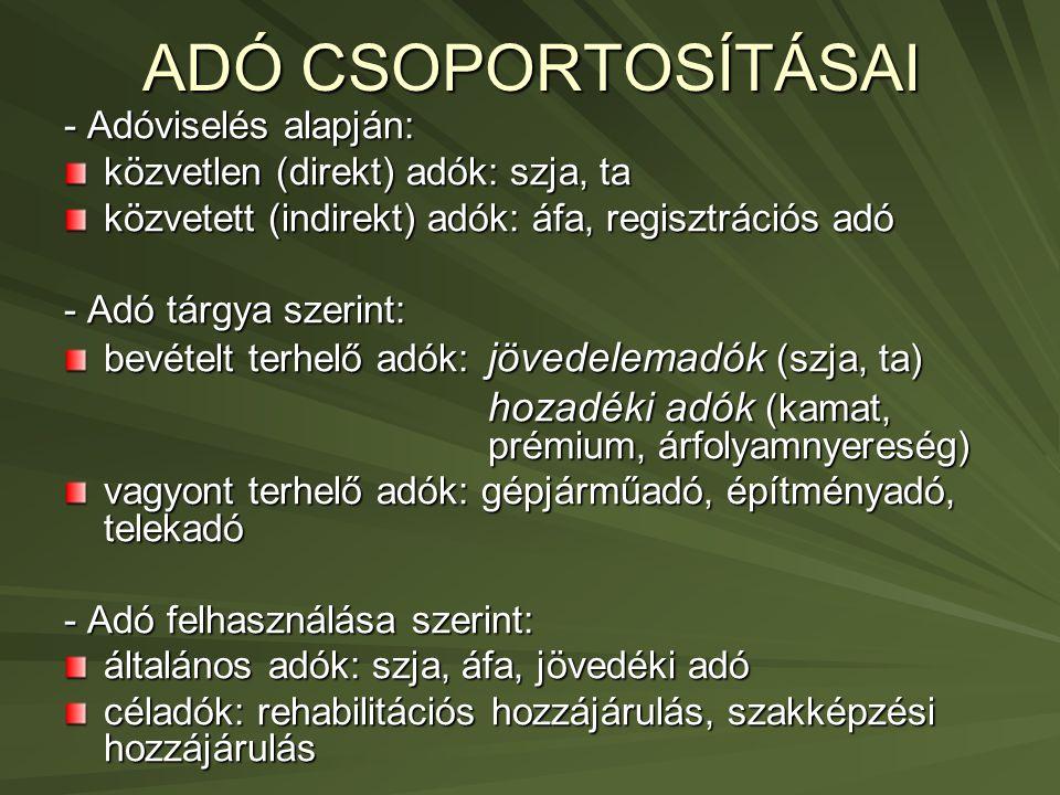 ADÓ CSOPORTOSÍTÁSAI - Adóviselés alapján: