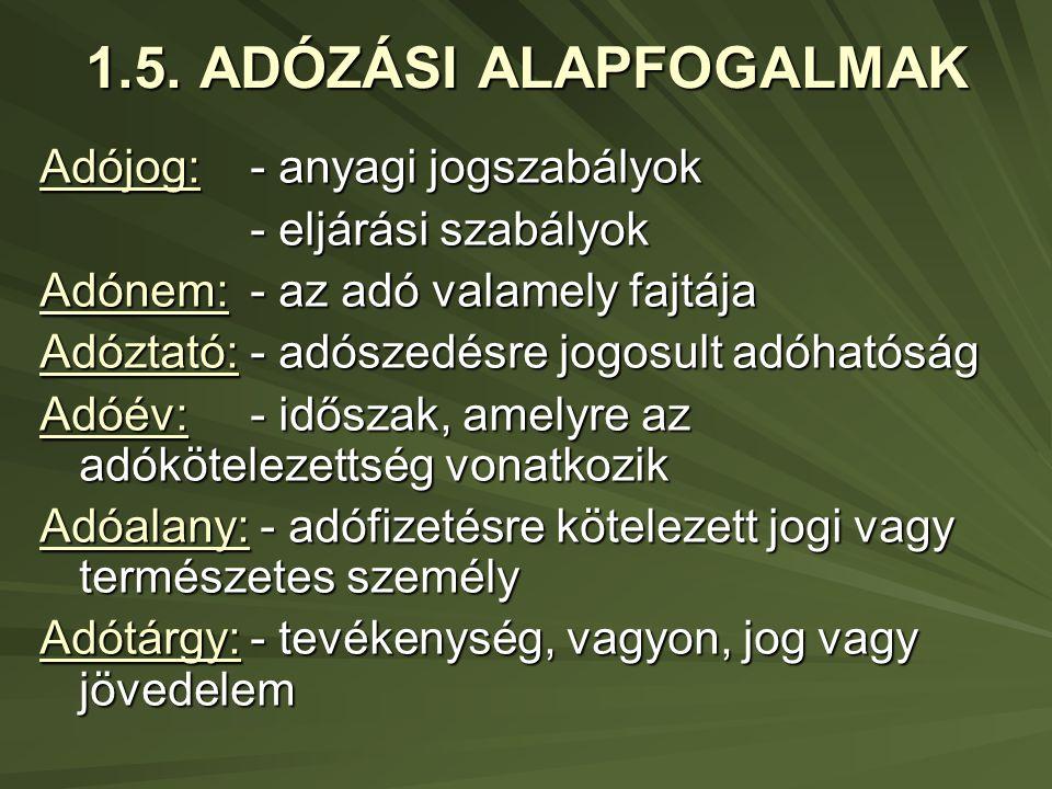 1.5. ADÓZÁSI ALAPFOGALMAK Adójog: - anyagi jogszabályok