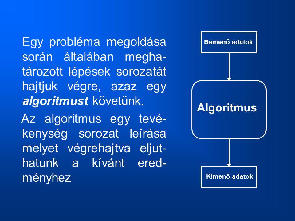 Egy probléma megoldása során általában megha-tározott lépések sorozatát hajtjuk végre, azaz egy algoritmust követünk.