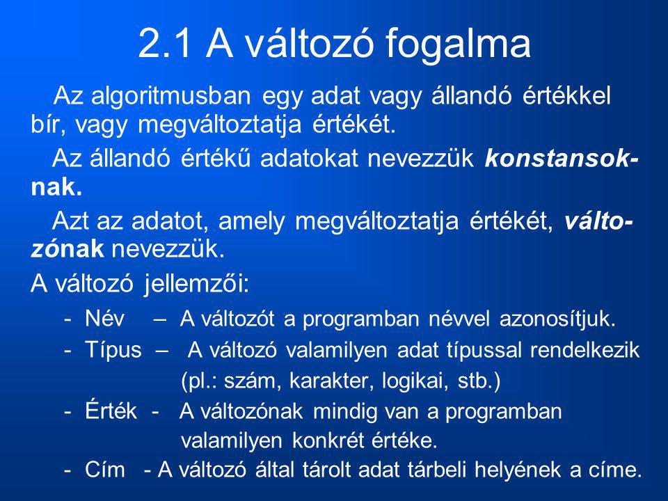 2.1 A változó fogalma Az algoritmusban egy adat vagy állandó értékkel bír, vagy megváltoztatja értékét.