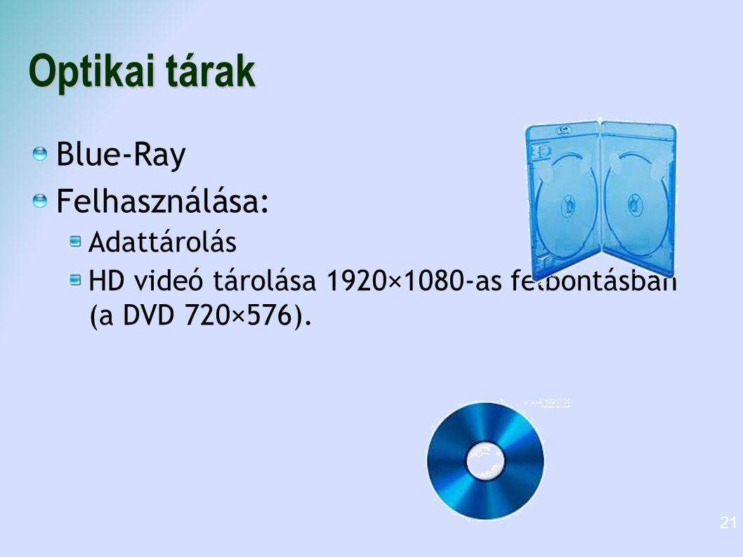 Optikai tárak Blue-Ray Felhasználása: Adattárolás
