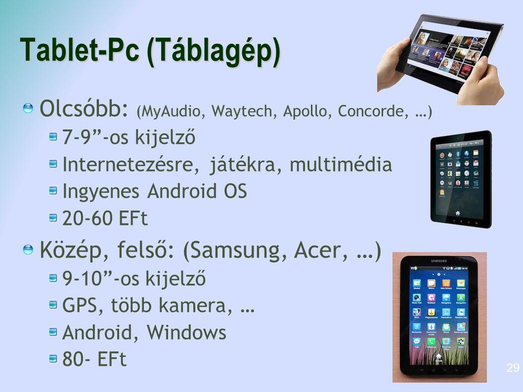 Tablet-Pc (Táblagép) Olcsóbb: (MyAudio, Waytech, Apollo, Concorde, …)