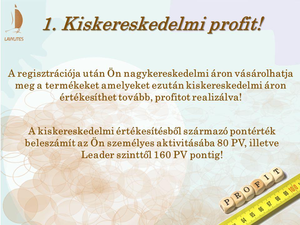 1. Kiskereskedelmi profit! Leader szinttől 160 PV pontig!