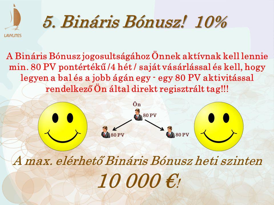 A max. elérhető Bináris Bónusz heti szinten 10 000 €!