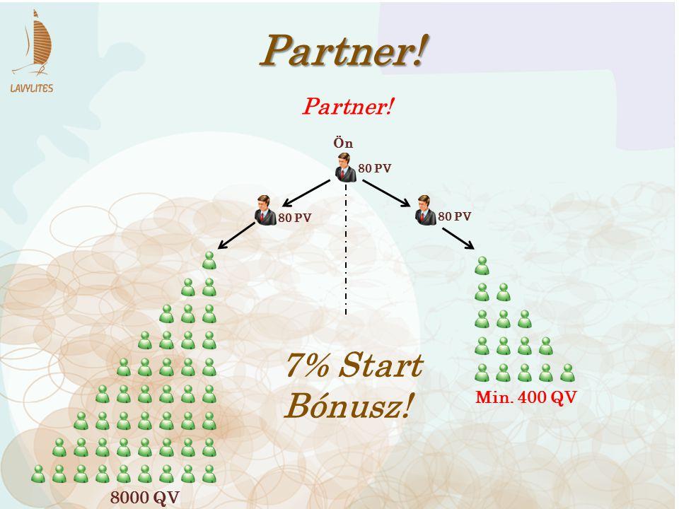 Partner! 7% Start Bónusz! Partner! Min. 400 QV 8000 QV Ön 80 PV 80 PV