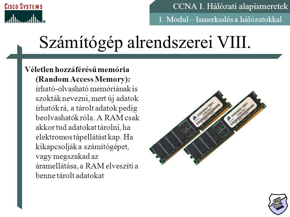 Számítógép alrendszerei VIII.