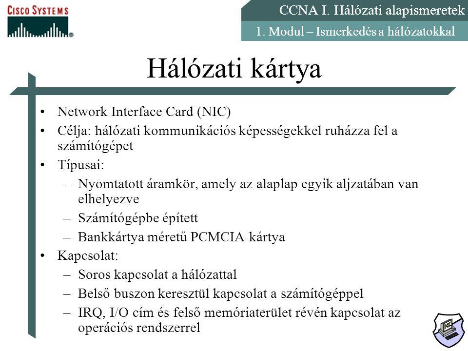 Hálózati kártya Network Interface Card (NIC)
