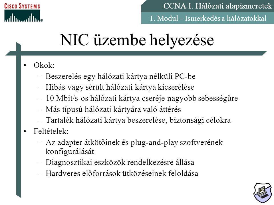 NIC üzembe helyezése Okok: