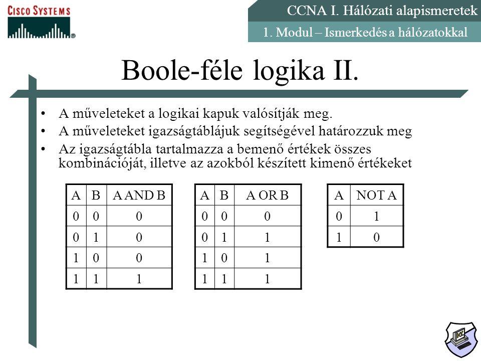 Boole-féle logika II. A műveleteket a logikai kapuk valósítják meg.