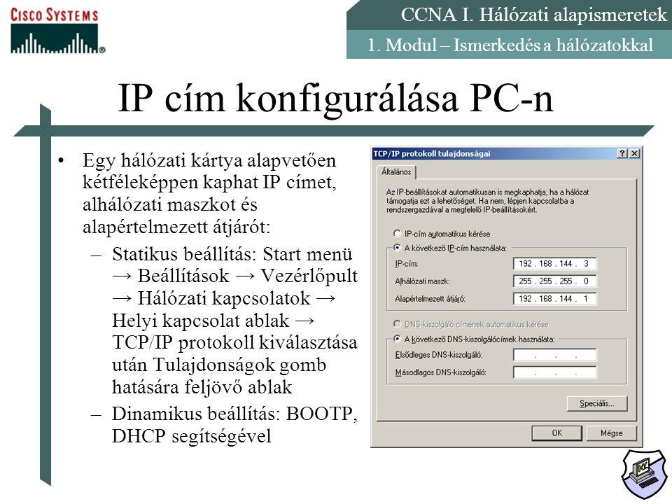 IP cím konfigurálása PC-n