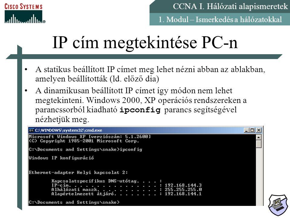 IP cím megtekintése PC-n