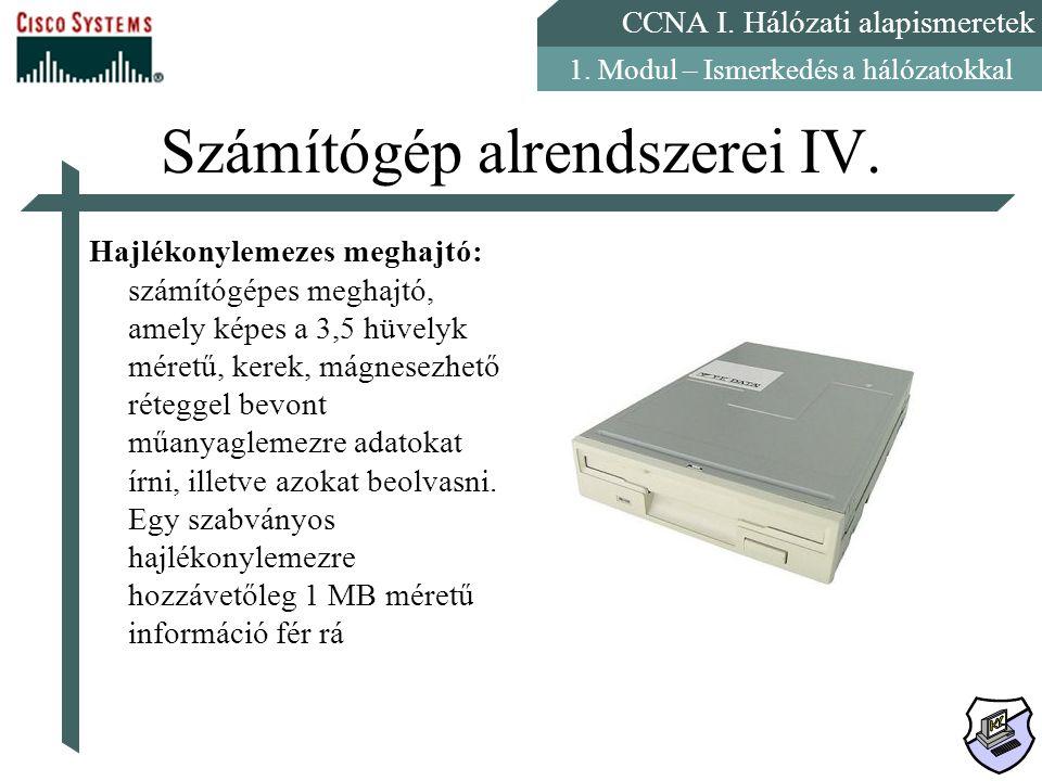 Számítógép alrendszerei IV.