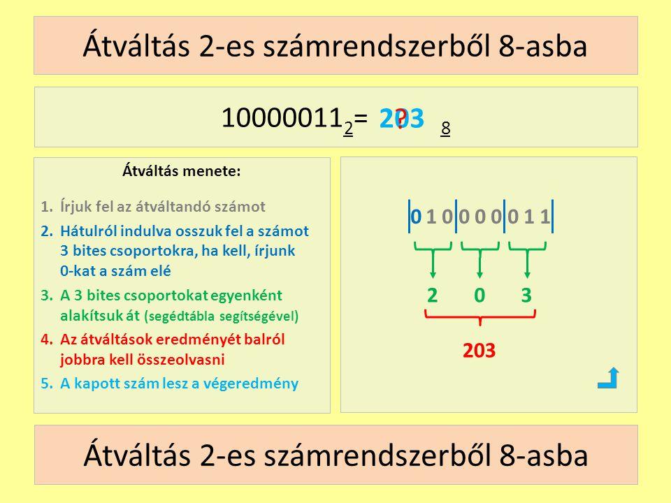 Átváltás 2-es számrendszerből 8-asba