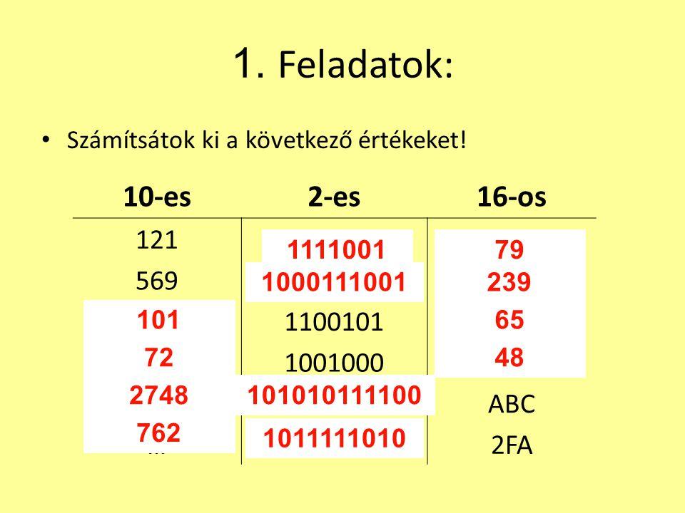 1. Feladatok: 10-es 2-es 16-os 121 … 569 1100101 1001000 ABC 2FA