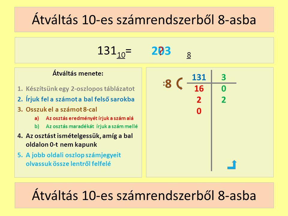 Átváltás 10-es számrendszerből 8-asba