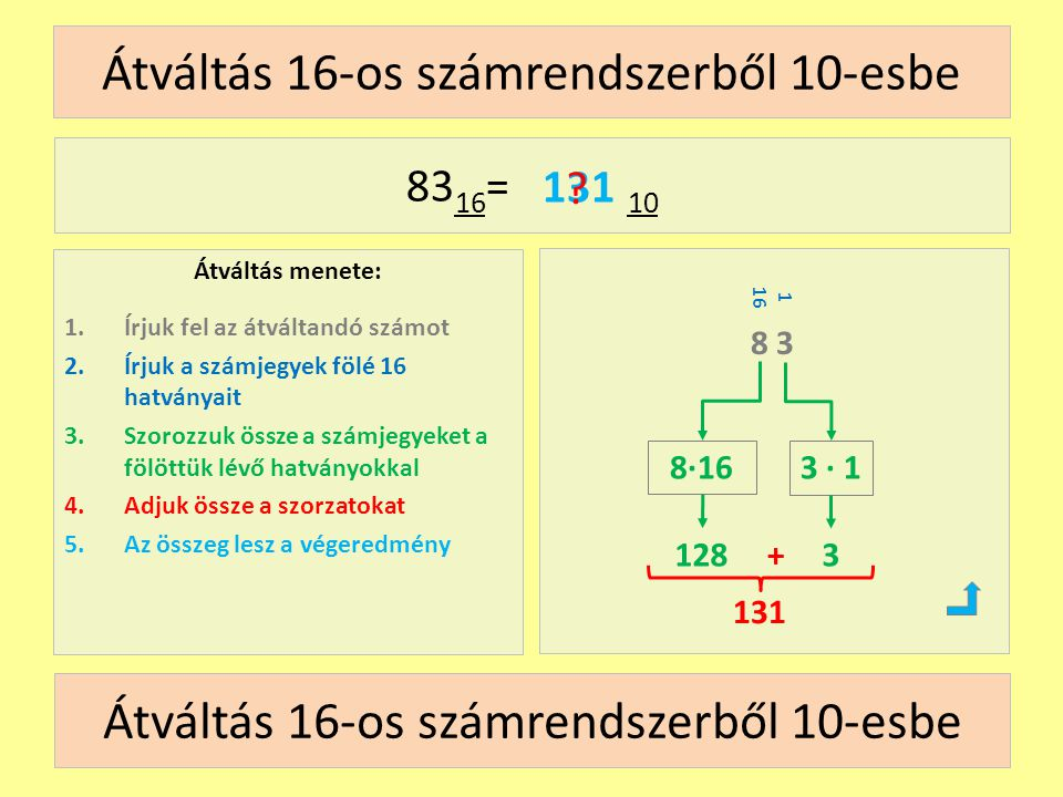 Átváltás 16-os számrendszerből 10-esbe