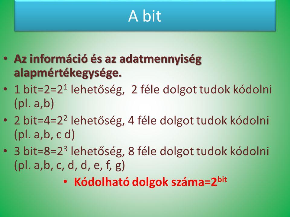 Kódolható dolgok száma=2bit