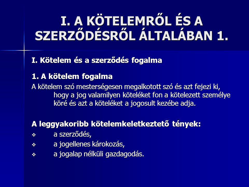 I. A KÖTELEMRŐL ÉS A SZERZŐDÉSRŐL ÁLTALÁBAN 1.