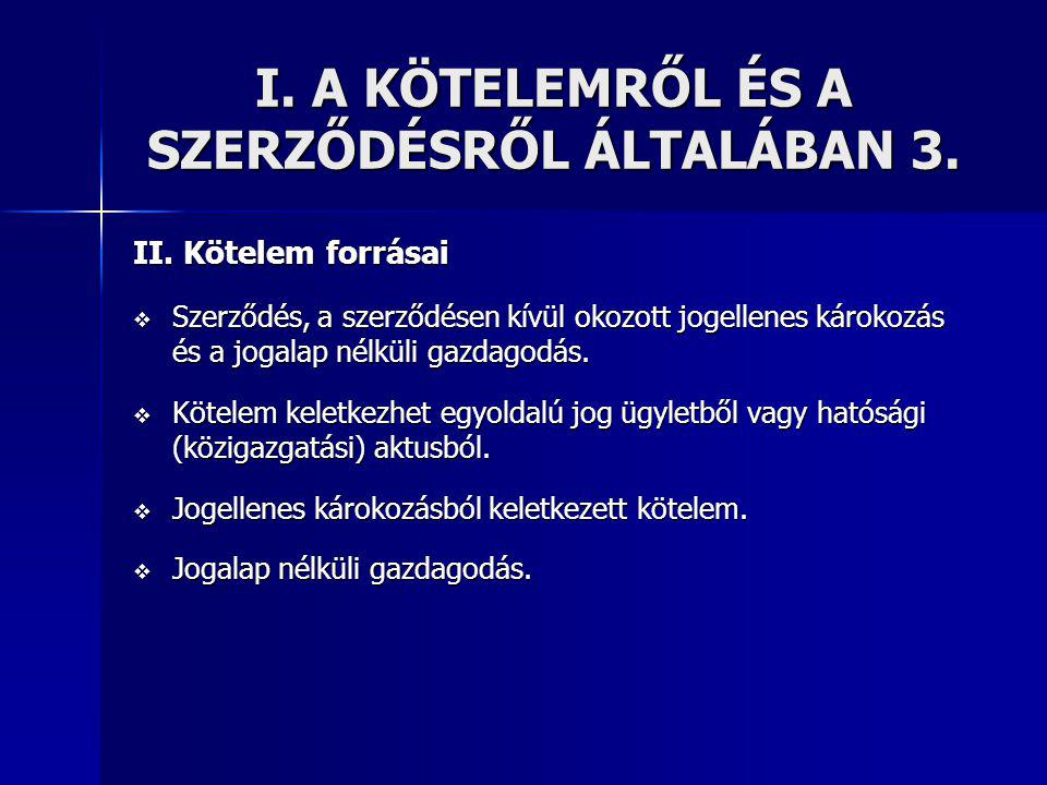 I. A KÖTELEMRŐL ÉS A SZERZŐDÉSRŐL ÁLTALÁBAN 3.