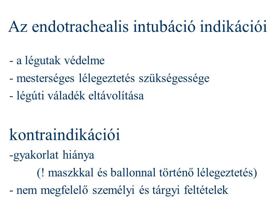 Az endotrachealis intubáció indikációi