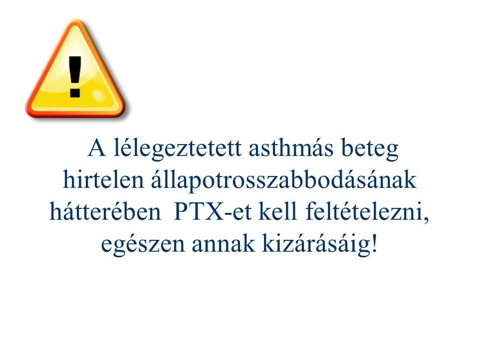 A lélegeztetett asthmás beteg hirtelen állapotrosszabbodásának hátterében PTX-et kell feltételezni, egészen annak kizárásáig!