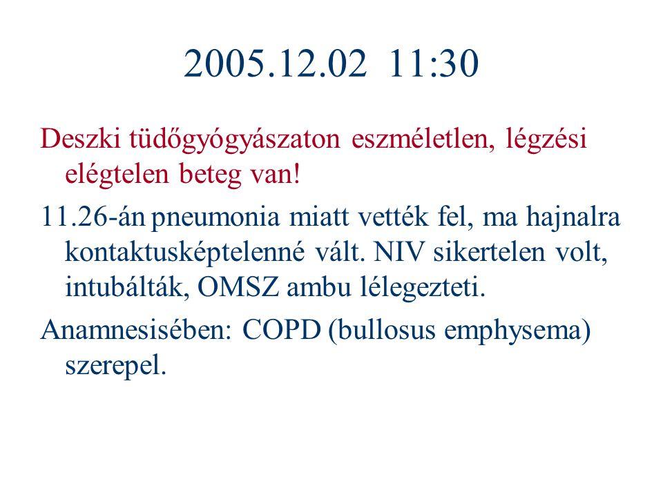 2005.12.02 11:30 Deszki tüdőgyógyászaton eszméletlen, légzési elégtelen beteg van!
