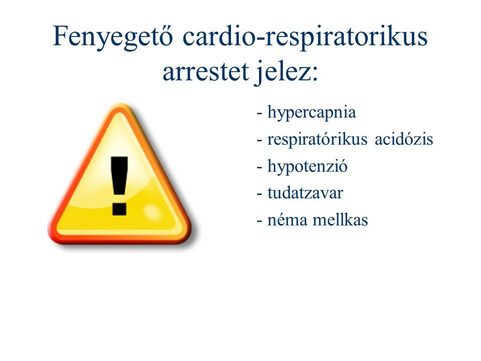Fenyegető cardio-respiratorikus arrestet jelez: